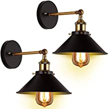 Wall Sconces Light 2-Pack JACKYLED E26 E27 Base Black Industrial Vintage Edison Wall Lamp Fixture Simplicity Steel Finished