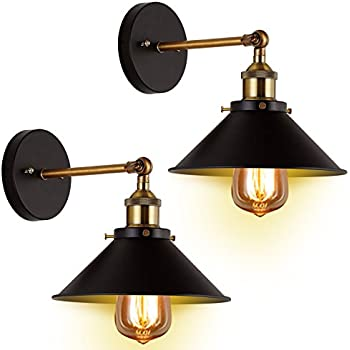 Wall sconces light 2 pack jackyled e26 e27 base black wall wall sconces light 2 pack jackyled e26 e27 base black wall industrial vintage edison simplicity aloadofball Image collections