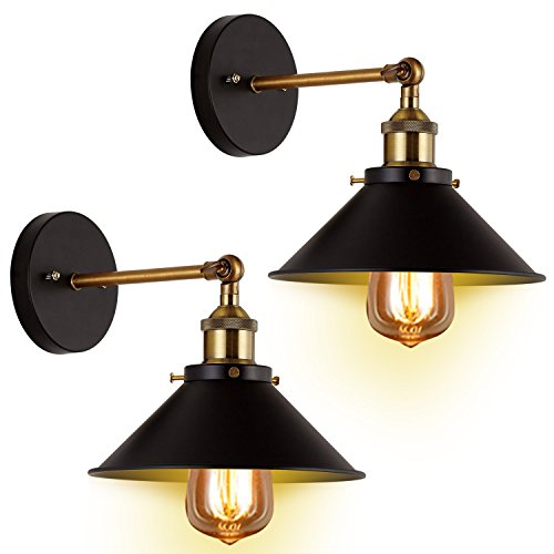 Wall Sconces Light 2-Pack JACKYLED E26 E27 Base Black Wall Industrial Vintage Edison Simplicity Lamp Fixture Steel Finished for Cafe Club 2 Light