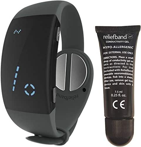 Reliefband 2.0 Motion Sickness Wristband - Easy-to-Use, Fast, Drug-Free Nausea Relief Band Helps w/Morning Sickness, Nausea, Sea Sickness, Retching, Vomiting (USB Charging Cable, Charcoal)