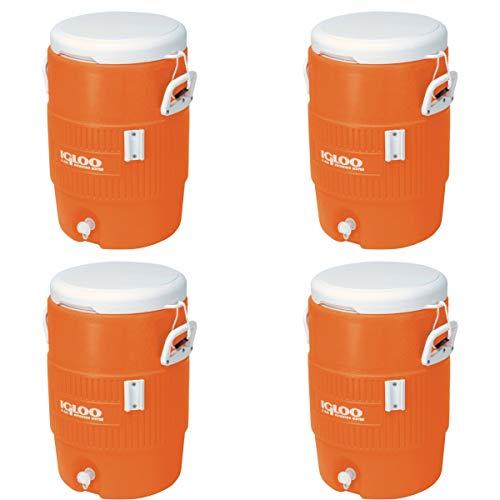Igloo 5-Gallon Heavy-Duty Beverage Cooler, Orange & Ultimate Drip Catcher Set (4 Set, 5-Gallon, Orange) ()