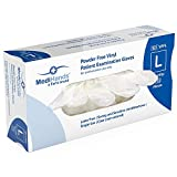 Heavy Duty Disposable Vinyl Gloves, 100 Count - Powder Free, Ambidextrous, Super Comfortable, Extra Strong, Durable and Stretchy, Medical, Food and Multi Use - by MediHands (Large)