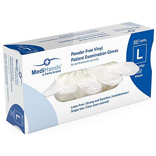 MediHands Large Heavy Duty Disposable Clear Vinyl Examination Gloves Powder Free Latex Free AQL 1.5 Ambidextrous Durable…