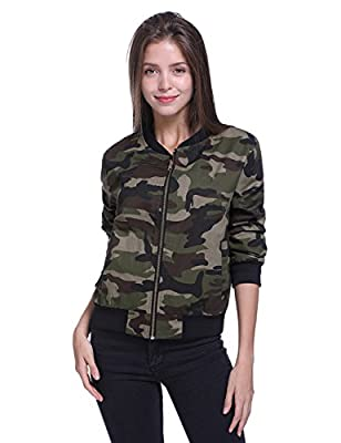Fancyqube Women's Lightweight Camouflage Classic Bomber Jacket Coat