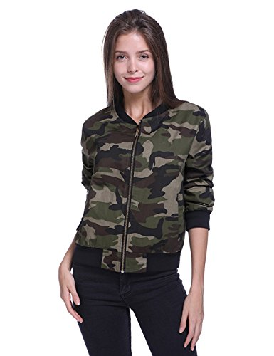 Fancyqube Women's Lightweight Camouflage Classic Bomber Jacket Coat Multicolor XL