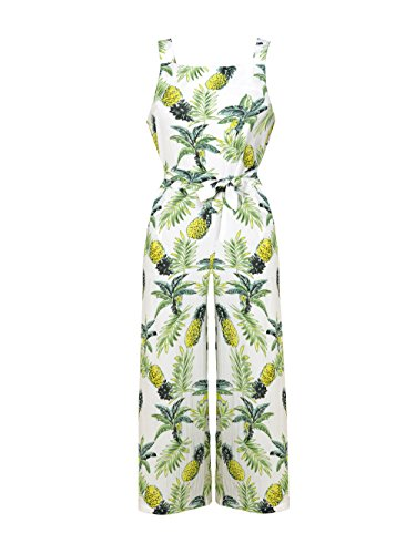 Dongpai Women's Floral Print Strap Jumpsuit Sleeveless Tie Waist Wide Leg Pant Rompers with Pockets by Dongpai (Image #2)