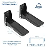 VIVO Black Steel Universal Dual Soundbar Wall Mount L Brackets | Adjustable Extending Speaker Arm Holders