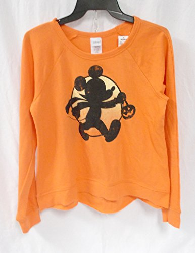 Disney Mickey Mouse Moon Halloween Juniors Orange Crewneck M NWT