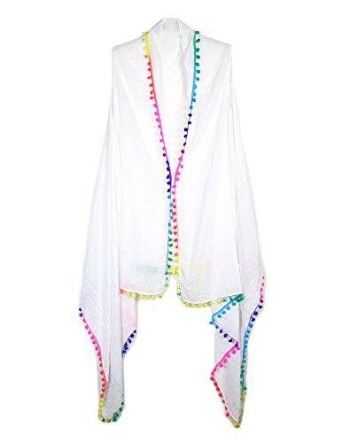 womens-summer-beachwear-draping-style-vest-cover-up-with-pom-pom-or-tasselpompomwhite
