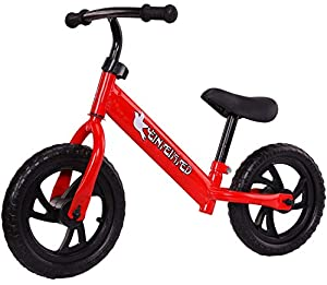 12Inch Children's Balance Bike,2-3-6 Years Old Scooter,Infants,Boys and Girls,Babies,Children,Sliding Two-Wheeled Pedalless High Titanium Steel Bicycle,Red