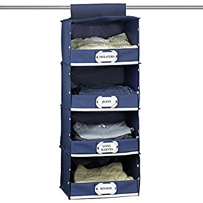 The G.U.S No-Sag Hanging Deluxe 4-Shelf Closet Organizer With Front Flip-Down Flap, Navy Blue, Set of 3