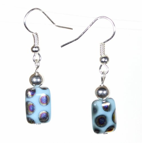 """""""Blue Peacock"""", Polka Dotted Light Blue Earrings on French Wires, 1.25 Inches"""
