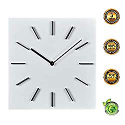MOTINI 12 Wall Clock Silent Non-Ticking, Quality Quartz Battery Operated Square Decorative Clock for Bedroom, Classroom, Kitchen, Home, Office (White)
