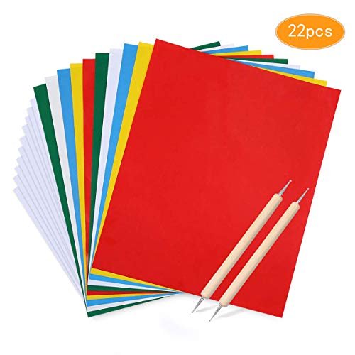 Transfer Paper and Tracing Paper with Embossing Stylus, Kissbuty 22 Pcs Carbon Water-Soluble Transfer Papers Transfer Pattern on Cloth,Canvas,Fabric,Wood for Sewing Cross Stitch Embroidery Paint - Embossing Patterns