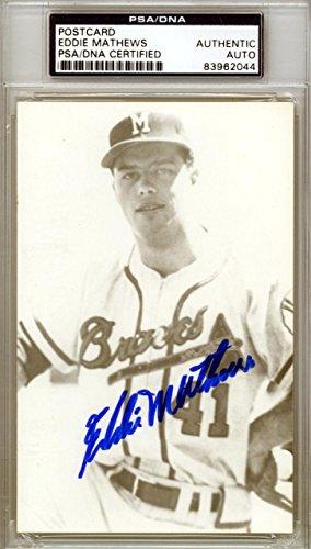 Eddie Mathews Autographed Signed 3.5x5.5 Postcard Milwaukee Braves #83962044 PSA/DNA Certified MLB Cut Signatures