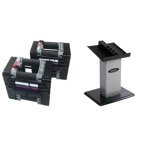 PowerBlock Elite Set Dumbell, 50-Pound (pair) and PowerBlock Large Column Stand (Silver) Bundle