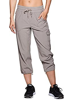 Rbx Active Women's Lightweight Body Cargo Drawstring Woven Pant Khaki M 1