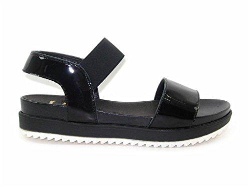 LINCE-NERO VERNICE PIATTAFORMA sandalo piatto