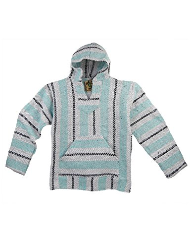 Baja Joe Eco-Friendly Woven Striped Pullover Baja Hoodie Mint X-Large