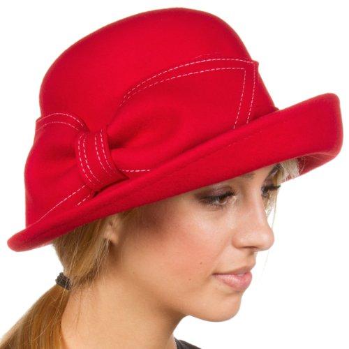 Sakkas 32CY Bobbi Vintage Style Wool Cloche Bell Derby Hat - Red - One Size (Bell Bucket Hat)