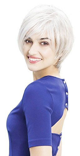 Short Pixie Cut Layered Style Wig Soft Natural white Synthetic Hair Wig With bangs for older ladies (Caucasian Wigs)