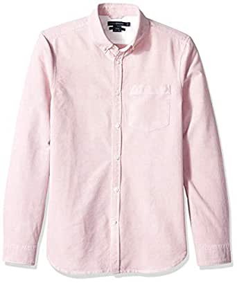 French Connection Mens 52LAY Brushed Oxford Long Sleeve Button Down Shirt Long Sleeve Button Down Shirt - red - Small