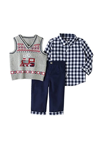 (George Baby BOY 3PC Dressy Vest Set,Size 0-3)