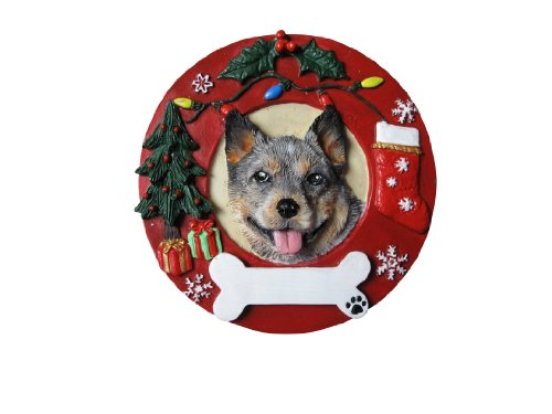 Australian Cattle Dog Christmas Ornament Wreath Shaped Easily Personalized Holiday Decoration Unique Australian Cattle Dog Lover Gifts ()