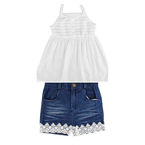 (Lankey 2pcs Toddler Baby Girls T-Shirt Dress+Jeans Pants Clothes Outfits Set (White, 5-6T))
