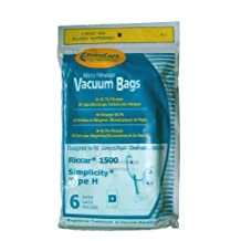 18 Riccar Simplicity Type H Vacuum Bags, Canister Vacuum Cleaners, S13L, S14CL, S18, S24, S30, S36, S38, 1500 by Riccar