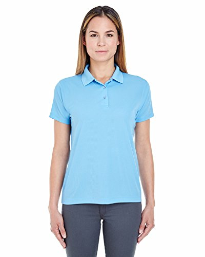 (UltraClub Ladies' Cool & Dry Jacquard Performance Polo Shirt, Columbia Blue, S)