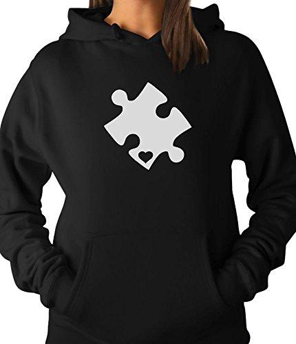TeeStars - Autism Awareness Heart Cut Puzzle Women Hoodie Medium ()