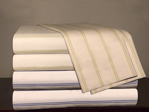 Pointehaven 310-Thread Count Sateen 100-Percent Egyptian Cotton Sheet Set, Sage Stripe, Full