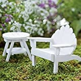 Mini Adirondack Chair - White Miniature Fairy Garden Accessories Village Pieces