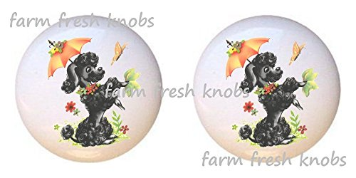 ck French Poodle Dog with Umbrella - Dogs - DECORATIVE Glossy CERAMIC Cupboard Cabinet PULLS Dresser Drawer KNOBS ()