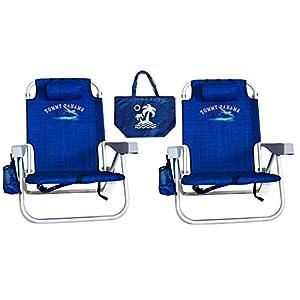 2 Tommy Bahama Backpack Beach Chairs/ Blue + 1 Medium Tote Bag