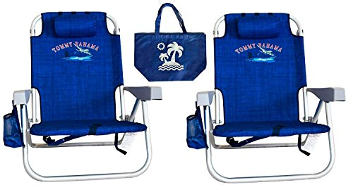 2 Tommy Bahama Backpack Beach Chairs/ Blue + 1 Medium Tote Bag by Tommy Bahama Beach Gear