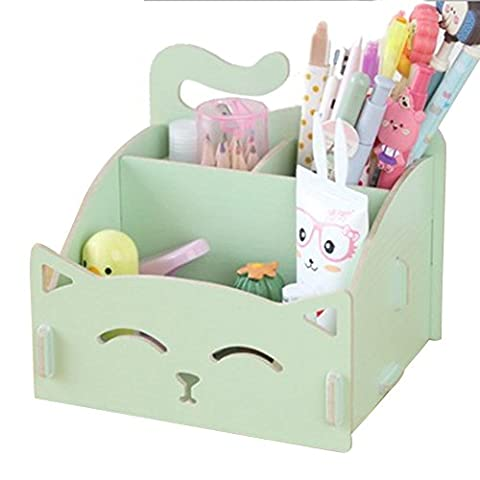 Jia Jia Trade Wooden Desk Holder for Makeup Brush Storage Display Box/Jewelry Cosmetics Organizer/Pencil holder Stand (Acrylic Boxes Small)