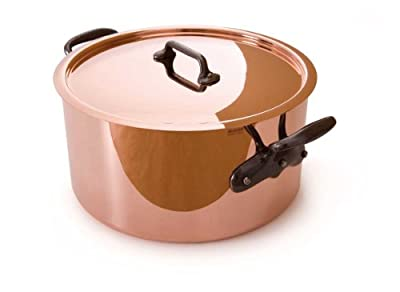 Mauviel M'Heritage Copper M250C 6505.03 6.6 Quart Stockpot with Lid and Cast-Iron Handles