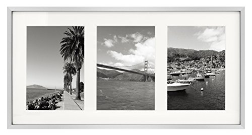 Golden State Art 9x18 Silver Frame - Ivory Mat for Three 5x7 Pictures - Aluminum Metal - Sawtooth Hangers- Swivel Tabs - Wall Mounting - Landscape/Portrait - Real Glass - Collage Frame