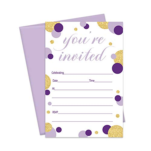 Purple Party Invitations and Envelopes for Celebrations (Pack of 15 Fill-in -