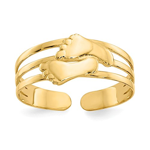 14k Yellow Gold Bare Feet Adjustable Cute Toe Ring Set Fine Jewelry For Women Gift Set