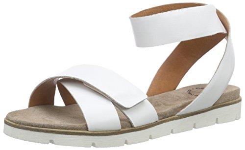 cashott 15091 - Sandalias de tobillo Mujer Blanco - Weiß (White Baltimore 380)