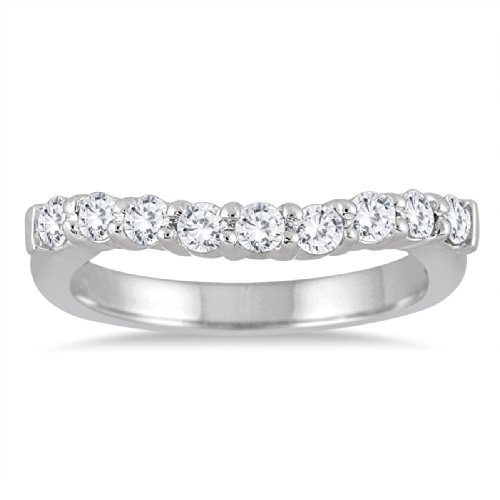 AGS Certified 1/2 Carat TW Diamond Curve Wedding Band in 10K White - Diamond Five Band Tw Stone