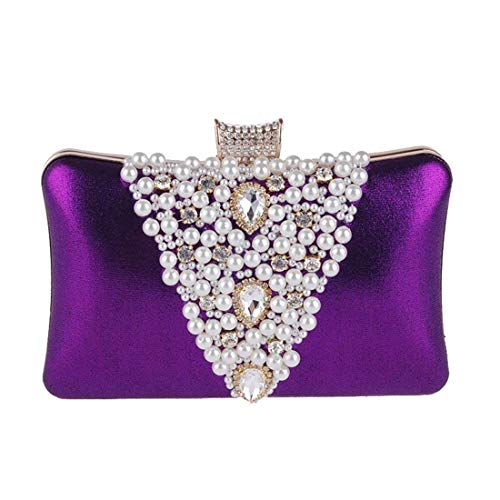 Del Las color Con Plata Color Noche Bolso Mujeres Púrpura Tarde Partido Cheongsam Vestido El La Perla Mujer De Tamaño Oro qx6tX