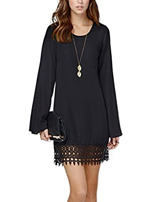 PAKULA Women's Long Sleeve A line Lace Embellished Casual Dress