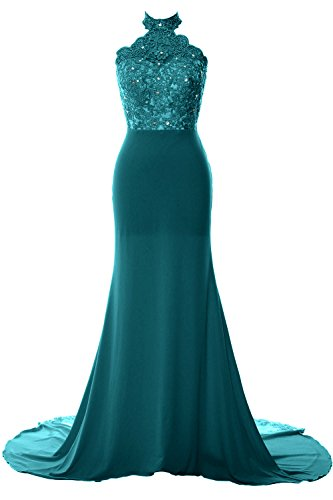 Dress Prom MACloth Jersey Halter Lace Women Teal Long Mermaid Formal Gown Evening xnTOUCFTqw