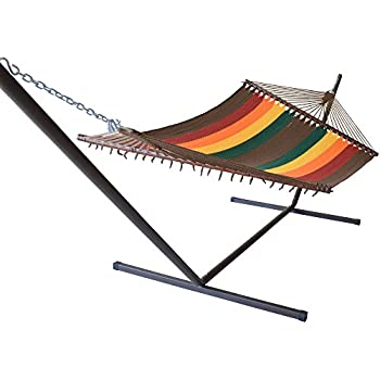 Jumbo Caribbean Hammock in Multi Color Red and Metal Tribeam Stand Combo