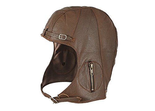 Brown Leather Aviator Pilot Helmet Cap XL/2XL
