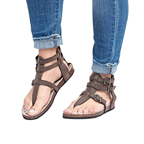 (Photno Women's Ladies Sandals Fashion Buckles Flat Ankle Beach Shoes Roman Slippers Brown)